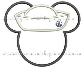 Cute  mouse sailor Applique Design  2 sizes 4X4 and 5X7  Instant Download