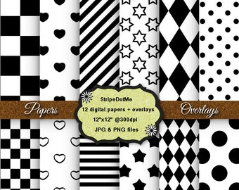 Digital Papers and Transparent Overlays Stars Stripes Dots Hearts Diamonds Checkerboard - Instant Download - Commercial Use 00134