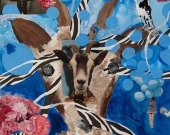 "Mixed Media Collage Art ""Goat Dream"""