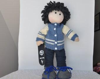 Levi is a 16 inch handcrafted Waldorf-Tilda-Rag style cloth doll