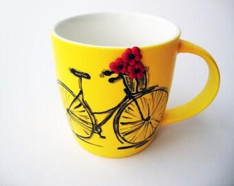Yellow Bike Mug, Flower Bike Mug, Bright Yellow Mug, Vintage Hand Painted Bicycle Mug, Cycling Gift, Coffee Mug With Embossed 3D Flowers,
