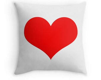 Red Heart Pillow, Red Decorative Pillow, Red Heart Print, Red Throw Pillow, Red and White Pillow