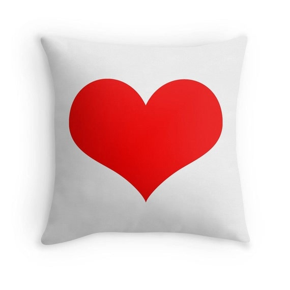 Red Heart Decorative Pillow : Red Heart Pillow Red White Heart Pillow Red by sevenonesixdesigns