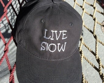 Live Slow Cap - Black with Charcoal Grey Lettering