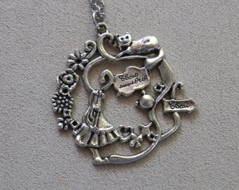 Necklace, Alice in Wonderland inspired, Alice and the Cheshire Cat Charm Pendant