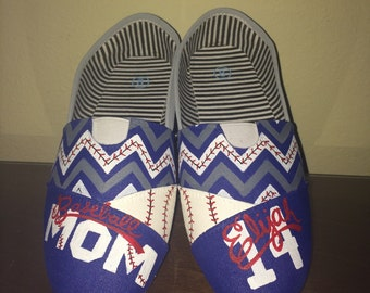 Softball or Baseball Mom (Grandma/Nana/Mamaw/Aunt etc) shoes customize with color/name/number