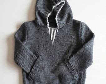 hooded sweater/knitting hoodies/hoodie/handmade/baby hooded sweater/child/knitting clothes/gift/kangaroo pocket/toddler/baby shower/birthday