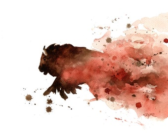 Buffalo Art Print - Watercolor Painting - Signed by Artist DJ Rogers - Wall Decor