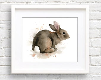 Rabbit Art Print - Watercolor Painting - Signed by Artist DJ Rogers - Wildlife - Wall Decor