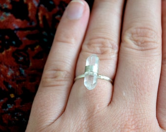 Double Terminated Quartz Ring- Sterling Silver- Size 9