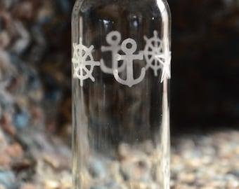 Nautical etched glass water bottle