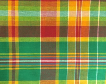 100% Cotton Madras Plaid Fabric By the Yard Orange Green White (Style 520)