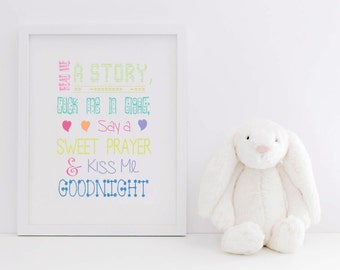 Childrens Nursery Print / Read Me A Story Tuck Me In Tight Say A Sweet Prayer & Kiss Me Goodnight / Children's Bedroom Print / Multicolour