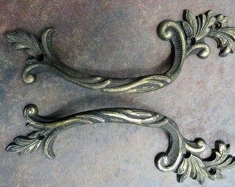 Set of two Ornate Quality Brass 1960's Heirloom Cupboard Handles