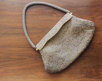 1950's Evening Bag - Small Vintage Beaded Purse - 50's Opera Clutch