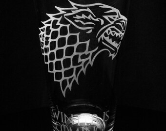 Choice of a Game of Thrones Pint Glass -House Stark -House Targaryen -House Baratheon -House Lannister
