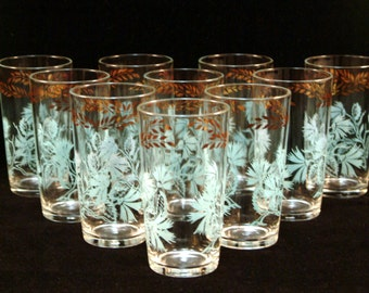 Federal Glass Co. Mid Century Aqua Gold Tumblers Set of 10