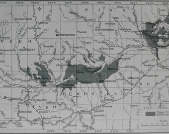 1904 Map of Southwest Arkansas Chalk Region AR. Geological, Geology USGS Map by Joseph A. Taff.  Antique Original Lithograph