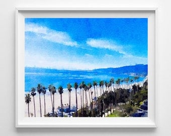 Santa Monica Print ,Art Print,Painting,Watercolor,Wall Art,Pic no 79