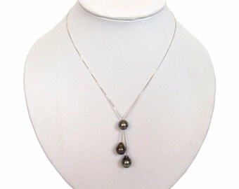 "18"" 9-10mm Genuine Tahitian Black Pearl 925 Silver Chain Dangle Necklace"