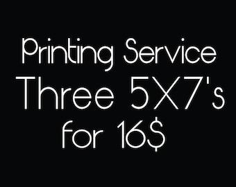 Printing Service for Three 5X7 Prints