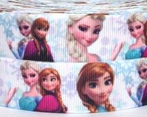"""Frozen 7/8"""" Grosgrain Ribbon - Frozen Elsa and Anna Ribbon - 3 yards Frozen Grosgrain Ribbon - Frozen Ribbon"""