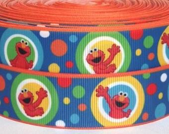 "Elmo 1"" Grosgrain Ribbon - 3 yards Elmo Ribbon - Sesame Street Ribbon - Elmo Grosgrain Ribbon 3 yards - 1"" Elmo Grosgrain Ribbon"