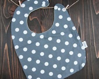 Gray Polka Dot Baby Bib