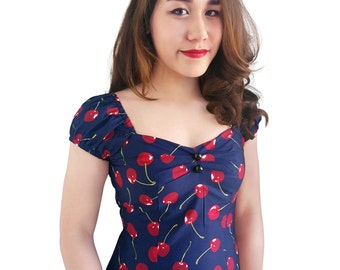 Pin Up Top Cherry Top Navy Blue Cherries Top Navy Retro Top Vintage Top Gypsy Rockabilly Clothing Top 1950s Top Summer Top Bridesmaid  Dress