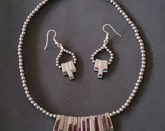 Hematite Fringe Necklace & Earrings Set