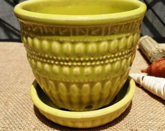McCoy Chartreuse Beaded Planter/ Flower Pot