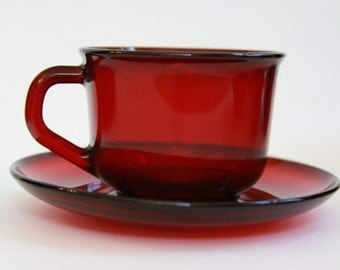 Vintage Ruby Red Cup and Saucer Arcoroc France