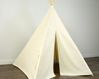 Kids Play Teepee Tent in Naural Beige Cotton Canvas