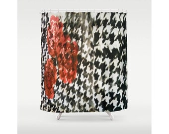 """Distressed Shower Curtain Houndstooth Shower Curtain Roses Shower Curtain 71"""" X 74"""" Black White  Shower Curtain Punk Chic Shower Curtain"""
