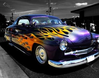 Printable Digital Classic Car Photography, Wall Art, Vintage Car Art, Purple Orange Flame Classic Car Photo, Gift for Him, Man Cave