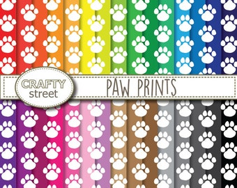 paw print digital paper,paw print,digital,instant download,scrapbook paper,scrapbooking,paw print paper,commercial use,digital paper pack