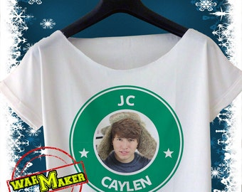 JC Caylen Crop Top JC Caylen Shirt Starbucks coffee logo inspired T-Shirt For Women Black or White