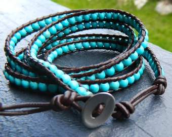 Turquoise wrap bracelet Wrap bracelet turquoise bead wrap bracelet leather wrap bracelet