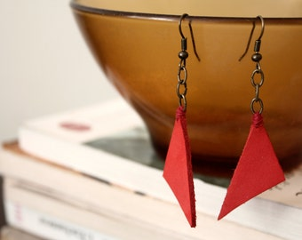 Triangle red leather earrings