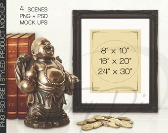 8x10 Portrait & Landscape Black Ornate Matted Unmatted Frame Lucky Buddha Books Golden Coins on Table, PNG PSD PSE Styled Image 16x20 24x30