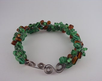 Green and Amber Glass Twisted Metal Bracelet
