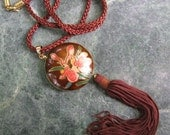 Cloisonne Pendant, Chinese, Enamel, Lillies, Pendant Necklace, Pink, Brown, Red