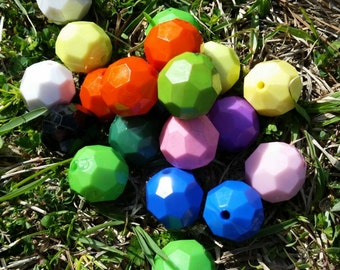 10 Round 20MM mixed Acrylic Beads, Gumball Beads, Bubblegum Beads, Chunky Beads, Acrylic