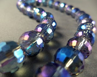 """Multi-Faceted Aurora Borealis Colored Round Crystal Beads - 10mm - 11"""" Strand"""