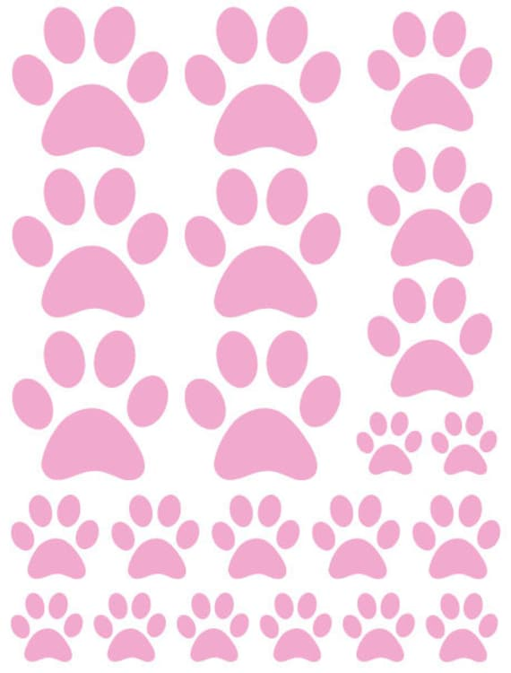 44 Soft Pink Paw Prints Vinyl Wall Decals Stickers Bedroom Teen Kids Baby Dorm Room Cat Dog Pet Removable Custom Easy to Install Wall Art