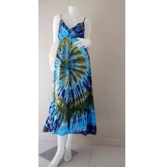 Beautiful Hippie Gypsy Colorful Tie Dye Cotton Maxi Dress,Halter Smock Summer Colorful Sundress Causal Dress S-L (DMSS142)