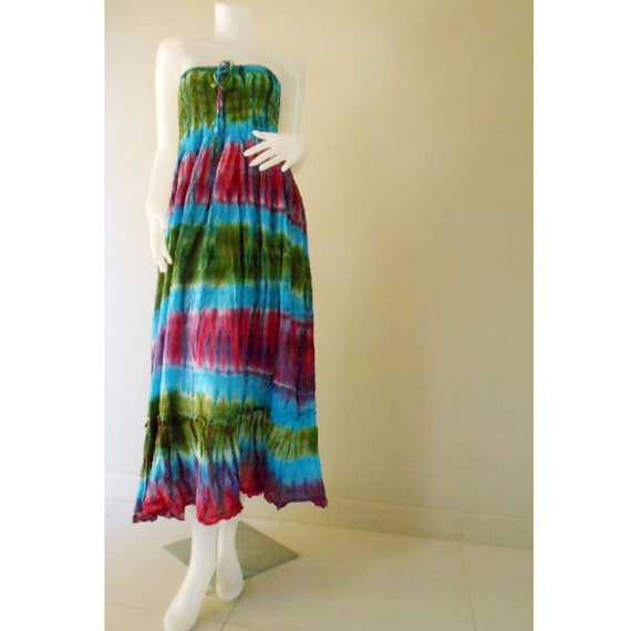 Plus size Sexy Hippie Boho Colorful Tie Dye Cotton Smock Summer Sundress Maxi Comfy Casual Beach Dress Long Skirt S-L (29)