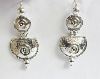 Hammered Sterling Silver Swirl Abstract Earrings Large
