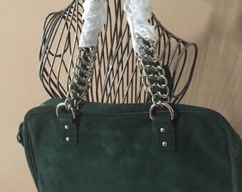 Green suede purse