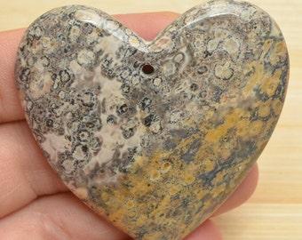 Natural Yellow Leopard Jasper heart  pendant bead  (#J765)